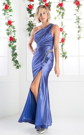 One-shoulder Sleeveless Side Draping Sheath Dress With Beading And Ruching