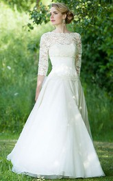 Bateau Lace 3-4-sleeve A-line Wedding Dress With Appliques