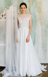 Chiffon Tulle Satin Floral Lace Wedding Dress