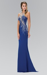 Column Beaded Full-Length Jewel-Neck Jersey Sleeveless Illusion Dress