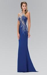 Column Beaded Full-Length Jewel-Neck Jersey Sleeveless Illusion Dress