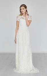 A-Line Sweep Train High-Neckline Boho Bridal Dress