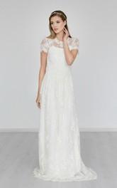 A-Line Sweep Train High-Neckline Boho Bridal Dress
