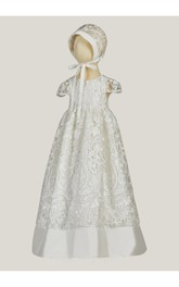 Elegant Lace Christening Dress With Trim