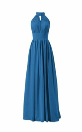 Long Chiffon High-Neckline Sleeveless Pleated Dress