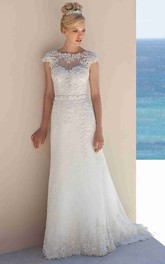 Scoop-neck Cap-sleeve Lace Wedding Dress With bow and Deep-V Back