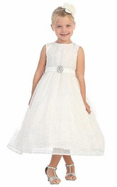 Tulle Broach Natural Tea-Length Flower Girl Dress