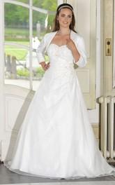 Sweetheart Satin Long A-Line Draping Long-Sleeve Dress