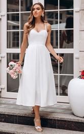 Spaghetti Sweetheart Satin Sleeveless Tea-length Cross Back Wedding Dress