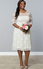 casual Lace Illusion Half Sleeve Scoop-neck Knee-length Dress