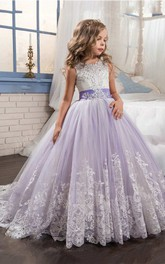 Ball Gown Floor-length Scoop Sleeveless Tulle Dress with Bow