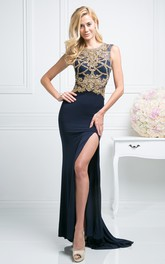 Column Jeweled Split Front Scoop-Neck Sleeveless Keyhole Jersey Dress