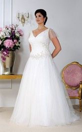 V-neck Poet-sleeve A-line Tulle plus size wedding dress With Beading And Court Train