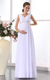 Pregnant Banded Waist Chiffon High-Waist V-Neckline Gown