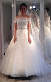 Tulle Jewels Scalloped Off-Shoulder Ball Gown