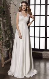 Sheath Elegant Empire Lace Appliqued Bridal Gown With Keyhole And Corset Back
