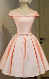 Short Sleeve Ball Gown Tea-length Off-the-shoulder V-neck Bow Pleats Satin Homecoming Dress
