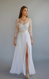 Scoop-neck Illusion Lace Long Sleeve Front-split Wedding Dress With Keyhole back