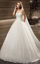Strapless Appliques A-Line Bridal Gown With Pleated Waist And Lace-Up Back