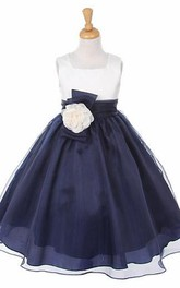 Two-tone square-neck Flower Girl Dress With bow