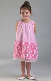 Tulle Floral Short-Midi Satin Flower Girl Dress