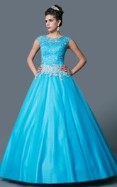 Bateau Cap-sleeve A-line Ball Gown Quinceanera Dress With Beading And Appliques