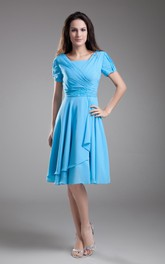 Midi Draping Bateau-Neckline Chiffon-Sleeve Dress