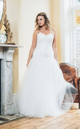 Sweetheart Tulle Long A-Line Lace Sleeveless Gown