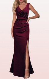 V-neck Sleeveless Sheath Satin Prom Dress With Ruching and Split Front