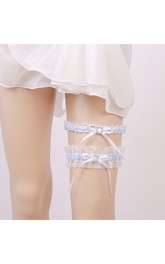 Western Style Fresh Light Blue Bow Elastic Two-piece Lace Garter Within 16-23inch