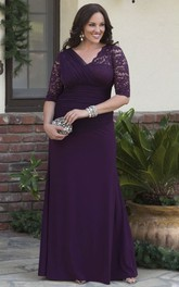 Sheath V-neck 3/4 Sleeve Jersey Gown With Lace And Tulle Tiered Appliques