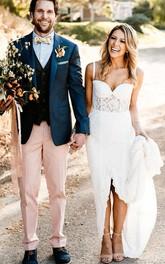 Spaghetti Sweetheart Lace Floor-length Open Back Sheath Wedding Dress with Split Front