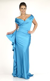 Plunged Off-the-shoulder Ruched plus size Dress With side draping