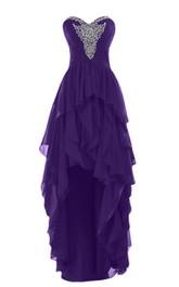 Layered Rhinestoned High-Low Sweetheart Chiffon Dress