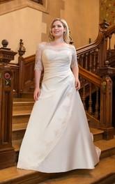 Half-Sleeve Lace Floor-Length A-Line Brush-Train Dress