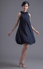 Chiffon Floral Neck Short Gossamery Pleated Dress