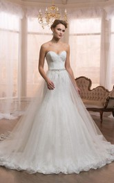 Ball-Gown Rhinestone Lace A-Line Sweetheart Dress