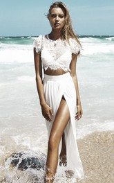 Front Split Two Piece Beach Wedding Dress With Lace Top