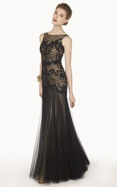 Bateau Sleeveless Tulle Long Dress With Ruching And Appliques