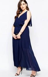 Ankle-Length Sleeveless Pleated V-Neck Chiffon Bridesmaid Dress