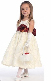 Taffeta Embroidery Tea-Length Floral Flower Girl Dress