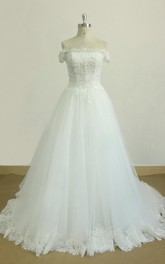 Chapel-Train Lace Off-The-Shoulder A-Line Satin Tulle Gown