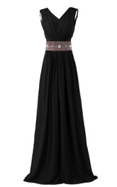 Long Rhinestone V-Neckline Sleeveless Chiffon Gown