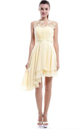 Sweetheart Chiffon Asymmetrical Short Lace Sleeveless Gown