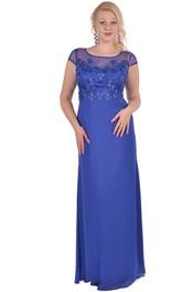 Short-Sleeve Zipper Floor-Length Column Appliqued Dress