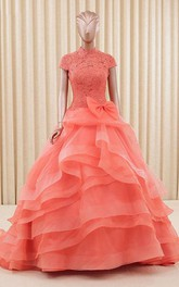 A-Line Organza Lace High-Neck Bell Bow Cap Sweep-Train Ball Gown