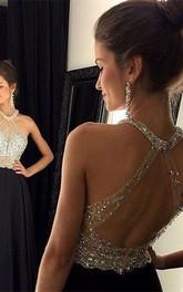 Chiffon A-Line Halter Sleeveless Crystals Chic Dress