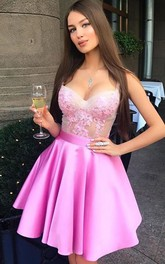 Sleeveless A-line Ball Gown Short Mini Straps Ruffles Satin Lace Homecoming Dress