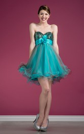 Multi-Color Tulle Sleeveless Ruffled Sequined A-Line Short Sweetheart Mini Strapless Dress