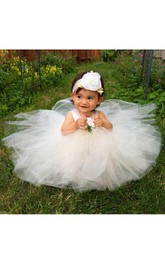 A-Line Satin Sash Strap Satin Tutu Flower Girl Dress